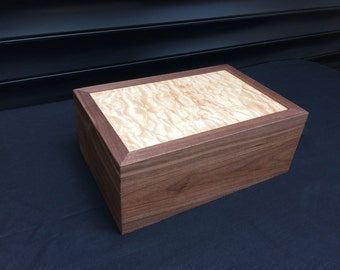 Black Walnut and Curly Maple Jewellery Box