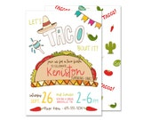 Taco Fiesta Birthday Invitation PRINTED Mexican Fiesta Invite Taco Party Southwest Birthday Spanish Birthday Let's Taco bout it food