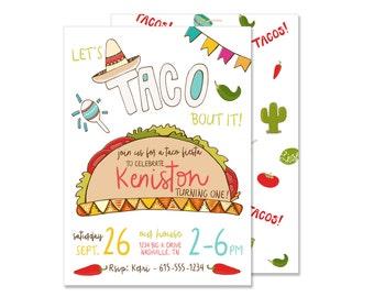 Taco Fiesta Birthday Invitation PRINTED Mexican Fiesta Invite Taco Party Southwest Birthday Spanish Birthday Let's Taco bout it food