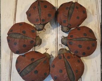 Set of 6 Extreme Primitive Folk Art Cloth Ladybug Bowl Fillers