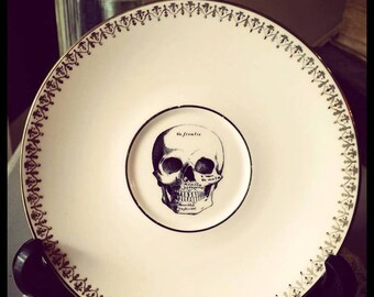 Vintage Gothic/Victorian skull saucer with skull decal