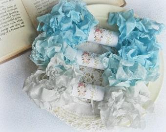 Seam Binding Ribbon / Crinkled Seam Binding / 15 Yards / Shabby Chic Ribbon / Gift Wrapping / Aqua, Sky Blue, Silver / Trim / Gift Wrap