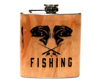 Personalized Wood Fishing Flask - unique gift for Dad, husband, grandfather,fishing
