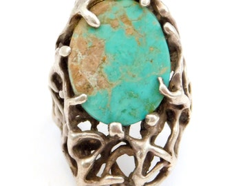Modernist Freeform Sterling & Turquoise Ring