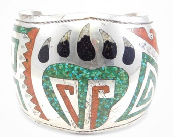 Amazing Navajo Signed Inlay Bear Paw Motif Cuff As Is
