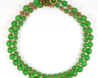 Rare Miriam Haskell Vaseline Glass Double Strand Necklace