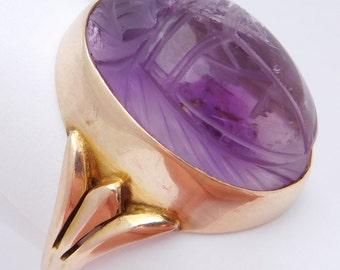 10K Art Deco Egyptian Revival Amethyst Scarab Ring Rare