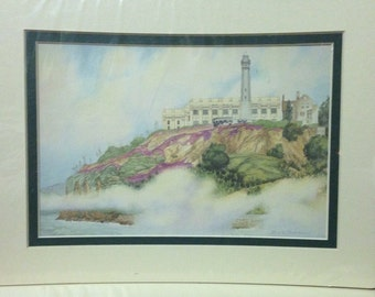 Alcatraz Island Lighthouse Print of a Mark Sherman Watercolor