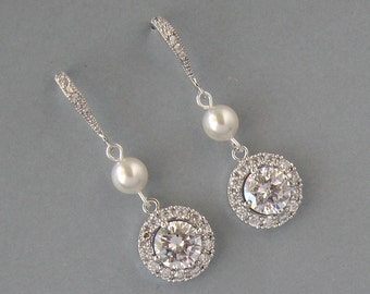 Cubic Zirconia,Rhodium Plated, Bridal Earrings,Daisy,Round,Bridal Jewelry,Clear Round Crystal, White Pearl, Earrings,Bridesmaid Gift - DK754