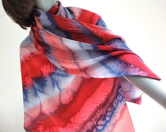 Hand Painted Shawl,  Red Gray Coverup, Silk Crepe Wrap, One of a Kind, Artisan Handmade, Hand hemmed, Made to Order, Jossiani