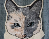 Custom Pet Portrait Embroidered Patch/Brooch WITH BANNER for Kira