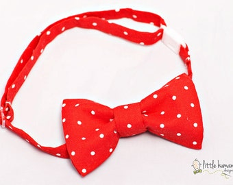 Red Polka Dot Bow Tie - Red White Polka Dot Boys Bow Tie, Boy Bow Tie, Polka Dot Birthday Bowtie, Red Baby Boy Bow Tie, Bow Ties for Boys
