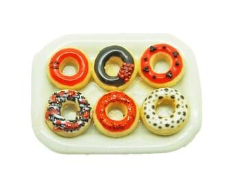 Plate of Halloween Doughnuts (Set B)  - Miniature 1:12 Scale Food