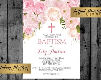 Pink Floral Baptism Invitation. Pink Watercolor Baptism, Christening, Dedication ,First Communion, INSTANT DOWNLOAD, print yourself