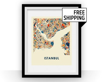 Istanbul Map Print - Full Color Map Poster