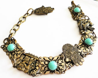 Silver Over Brass Egyptian Revival Bracelet with Hamsa Charm Turquoise Colored Glass 1920/1930