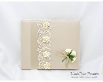 READY TO SHIP Wedding Lace Guest Book Custom Bridal Flower Brooch Guest Books in Champagne and Ivory