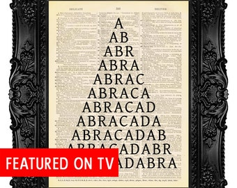 Abracadabra - ORIGINAL ARTWORK -Dictionary Art Print Vintage Upcycled Antique Book Page no.208