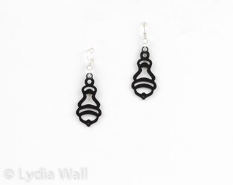 "Laser cut leather earrings ""Acorn"" in Black"