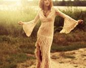 Ibiza dress Bohemian lace long maxi BOHO dress gypsy angel wing trumpet sleeve 70s wedding festival sheer bridal gown fringe Stevie Nicks