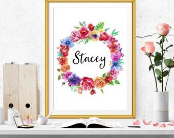 Floral Wreath Name Print. Custom Name Print
