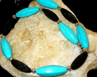 1 turquoise and lava Pearl Necklace 50cm (9)