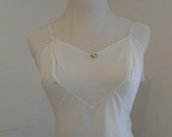 Vintage white full slip with zipper side - Beverly Vogue