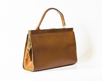 Beautiful 1940s Leather Handbag | Vintage Kelly Handbag Purse |  Brown Leather Kelly Handbag | Kelly Purse in Brown Leather