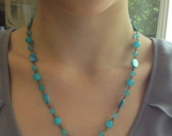 Blue Heart Necklace and Earrings
