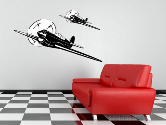 Vintage World War 2 Airplane Wall Decal Vinyl Aviation Sticker