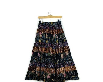 Vintage Black x Colorful Floral Patchwork  Flare Long  Skirt from 1980's*