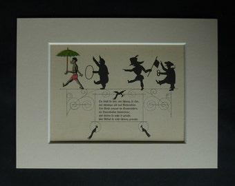 1920s Antique Children's Print from Struwwelpeter, Sinister Fairy Tale Decor, Available Framed, Creepy Art Dark Nursery Rhyme Silhouette Art