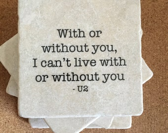 U2 Lyrics SET Of 4 TILES.  Decorative coasters, Marble Coaster, Stone Coasters. Music lover gift, U2 gift.