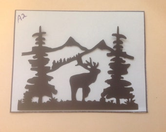 Silhouette Die Cuts/Elk in the Mountains -s11