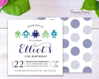 Robot Child's Birthday Invitation - Baby, Toddler, Kid's Birthday Party Invite - Technology Party - Digital File