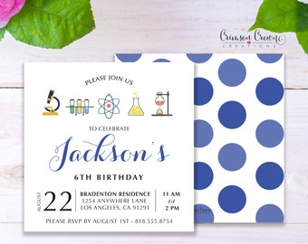 Little Scientist Child's Birthday Invitation - Baby, Toddler, Kid's Chemist Birthday Party Invite - Science Lab Party - Digital File