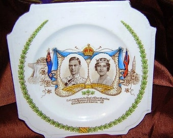 Royal visit commemorative plate 1939 King George VI to Canada US Aynsley bone china price has been reduced 33%