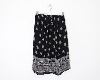 on sale - black & cream floral midi skirt / high waist belted crepe skirt / XL