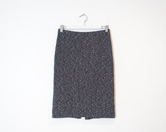 speckled grey knee length skirt / high waist stretchy pencil skirt / size M