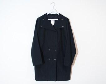 on sale - 80s navy blue double breasted jacket / lightweight batwing windbreaker / size L