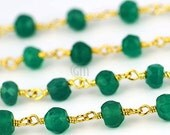 Mothers Day 55% OFF 3 Feet Beautiful Green Onyx, 4mm 24k Gold Plated wire wrapped Rosary Chain by foot. (GPGO-30003)