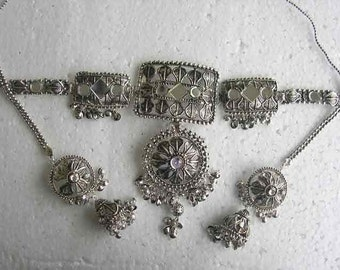 Tribal Fusion Bellydance Necklace Earrings Jewellry Set Kuchi Silver Tibet
