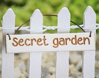 Secret Garden Sign - fairy accessories - fairy accessory - small hanging sign - miniatures for terrarium - hand made handcrafted sign
