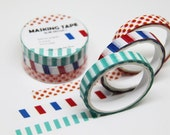 NEW Slim Washi Tape--SET of 3 Rolls--5m x 7mm.Masking Tape. Adhesive-DIY. Gift wrapping. Tag Making. Scrapbooking.Patterned Tape