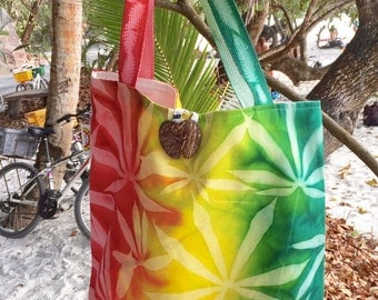 Handprinted Nature Embossed Canvas Tote Bag Made in Seychelles:  Red, Gold, Green