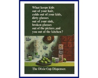 DIXIE CUP DISPENSER Original 1965 Vintage Color Print Ad -  Green Limes in a Kitchen Scene