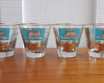 Vintage Libby Paddleboat Glasses Southern Comfort Promotion Gold and Blue Retro
