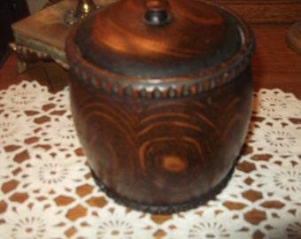 Antique Wooden Box, wooden tobacco jar, vintage wooden box, Oak Box,