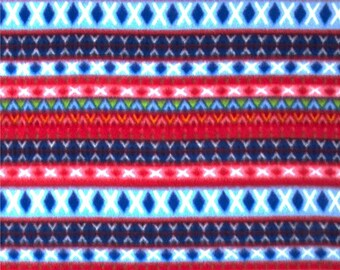 Blue, Pink, and Red Azrec Print Polar Fleece - One Yard