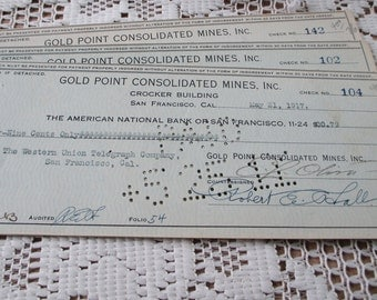 1917 Canceled checks from  Gold Point Consolidated Mines, Inc, a California mining company - estate find!